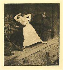 MAX KLINGER - Ein Leben (Opus VIII) - In die Gosse! - Radierung 1884