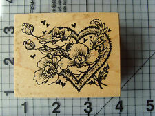 "PSX Personal Stamp Exchange Wood Mounted Rubber Stamp ""Floating"" Floral Heart"