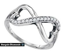 diamond infinity hearts .17 carat white 925 ring life journey love promise loop
