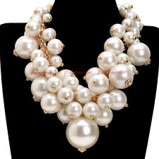 Fashion Gold Chain Big Resin Pearl Cluster Chunky Choker Statement Bib Necklace