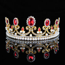 Royal Bridal Wedding Tiara Party Pageant Crown Crystal Hair Jewelry Ruby NEW