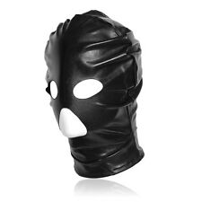 Spandex With Latex Full Head Hood Mask Open Mouth & Eyes 3 Holes Bondage Black