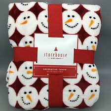 "Storehouse Christmas Holiday Snowman Plush Fleece Throw Blanket 60"" x 70"" NEW"