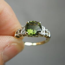 Vintage Estate 10K Gold Genuine TOURMALINE and DIAMOND Ring - Size 6.75