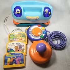 VTech Baby Smile Lot Blue Console Controller 3 Games Cartridges Disney Einstein