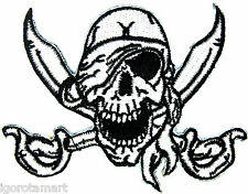 White Black Skull One Eye Jack Rock Punk Embroidered Iron on Patch Applique
