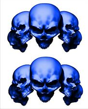 Harley Davidson Motorcycle 5 skull Blue Motorcycle Decal Set Sticker Set 5""