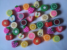 25 CLAY/FIMO  BEADS ....PIECES OF FRUIT 10mm