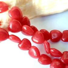"Heart-shaped 10x10mm Red Brazil Ruby Gemstone Heart Loose Beads 15"" G-01"