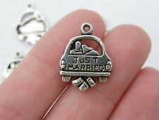 BULK 30 Just married car charms antique silver tone M240
