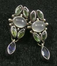 .925 Sterling Silver Moonstone Iolite Prasiolite Gemstone Post Dangle Earrings