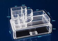 9 Compartment 1 Drawer Cosmetic Organiser Clear Acrylic Make Up  Holder Storage
