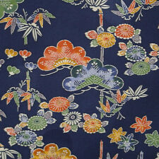 Japanese vintage kimono silk fabric Bingata Style Chrysanthemum and Pine