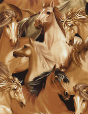PACKED HORSES ANIMAL BROWN #2558 COTTON QUILT BTY SEW TIMELESS TREASURES FABRIC