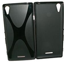 X-Rubber Silikon TPU Cover Black + Displayschutzfolie für Sony Xperia Style T3