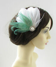 White Mint Green Silver Peacock Feather Fascinator Hair Clip Bridal Vtg 1920s 11