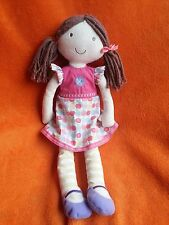 Marks and Spencer M&S ragdoll soft toy baby SUCCHIETTO capelli castani Abito Apple 15""