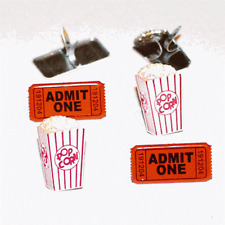 POPCORN & TICKET BRADS ** 8 PCS * EYELET OUTLET ** 2 DESIGNS