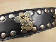 Vintage Mickey Mouse Star Hollywood Black Gold Tone Studded Belt 37""