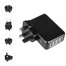 New 4 Ports USB Multi Adapter Travel Wall AC Charger with UK/EU/US/AU Plug Black