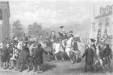 George WASHINGTON & Continental Army in NEW YORK CITY 1783 ~ Art Print Engraving