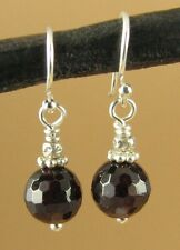 Red garnet faceted earrings. Sterling silver. Designer handmade.