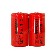 2 x Size C 9500mAh Ni-MH 1.2V Volt Rechargeable Battery RED Cell HR14 Flashlight