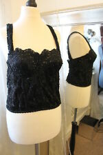 Wallis black sequined bustier corset top - Size 12 14 - Ditsy Vintage Steampunk