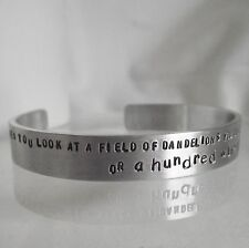 "Lovely Handmade Personalised ""....a hundred wishes""  Statement Cuff Bangle"