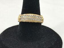 10k Yellow Gold LOVE Shiny Channel Set Diamond Band Ring Size 7 Gift