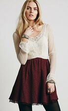 NEW Free People Victorian Lace Brocade Long Sleeve Ivory/Burgundy Dress Size 10