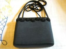 SM PRE-OWNED BLACK EVENING BAG W/BEADED TRIM, MAGNETIC CLASP & OVER-BODY STRAP