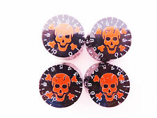 4 Black Les Paul Guitar Speed Tone Volume Knobs Skull and Crossbones Red