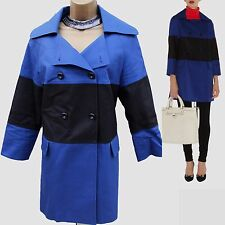 Karen Millen Black Blue Cotton Graphic Casual Trench Slip On Mac Jacket Coat 10