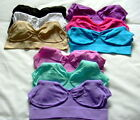 PACK OF 3 SEAMLESS COMFORT SLEEP YOGA LEISURE STRETCH CROP TOP BRA 6 sizes