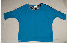 Womens S/S Shirt TURQUOISE Upper Back Black Lace 1X 16-18 Banded Bottom & Sleeve
