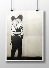 "Banksy - Kissing Cops. Archival Canvas Print 30""x20"""