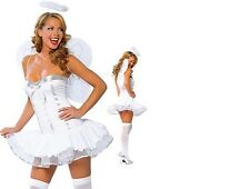 WOMENS LADIES SEXY ANGEL FAIRY HALO WINGS COSTUME HEN FANCY DRESS OUTFIT 8 10 12