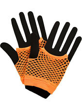 Neon Orange Hot Colours Short Fish Net Fingerless Gloves 80's Party Wear Goth
