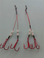 (#2 RED Treble Hook) 3 pack Adjustable GLOW ice fishing tip up rig with red wire