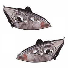 Ford Focus Mk1 2001-2004 Headlights Headlamps Chrome 1 Pair O/S And N/S