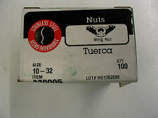 #10 - 32 SS Wing Nut = Hillman Box of 100 Nuts Stainless Steel