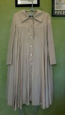 VINTAGE OSCAR DE LA RENTA BOUTIQUE COUTURE PLEATED SWING COAT TAUPE MID CENTURY