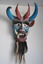 Blue Animal Devil Vintage Mexican Dance Mask of wood, hair and horn