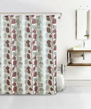 Rust Taupe Leaves Pattern on Ivory Background Fabric Shower Curtain w/ 12 Hooks