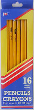 WOOD PENCILS #2 HB Lead Yellow with Red Erasers 16 Pencils/Pack