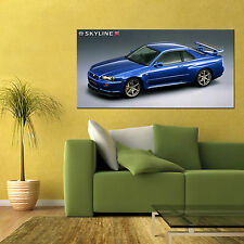 NISSAN SKYLINE R34 GTR V-SPEC NISMO SPORTS CAR LARGE AUTOMOTIVE POSTER 24x48 in