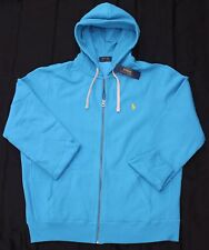 New Large L POLO RALPH LAUREN Mens fleece zip up hoodie jacket sweatshirt blue