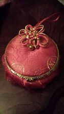 Brand New Chinese Silk Jewelry Box with Mirror - RED