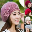 Women's Winter Knit Crochet Slouch Baggy Beanie Hat Crochet Ski Cap Beret Flower